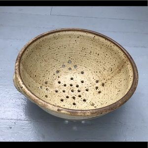 Unique vintage ceramic pottery handmade colander